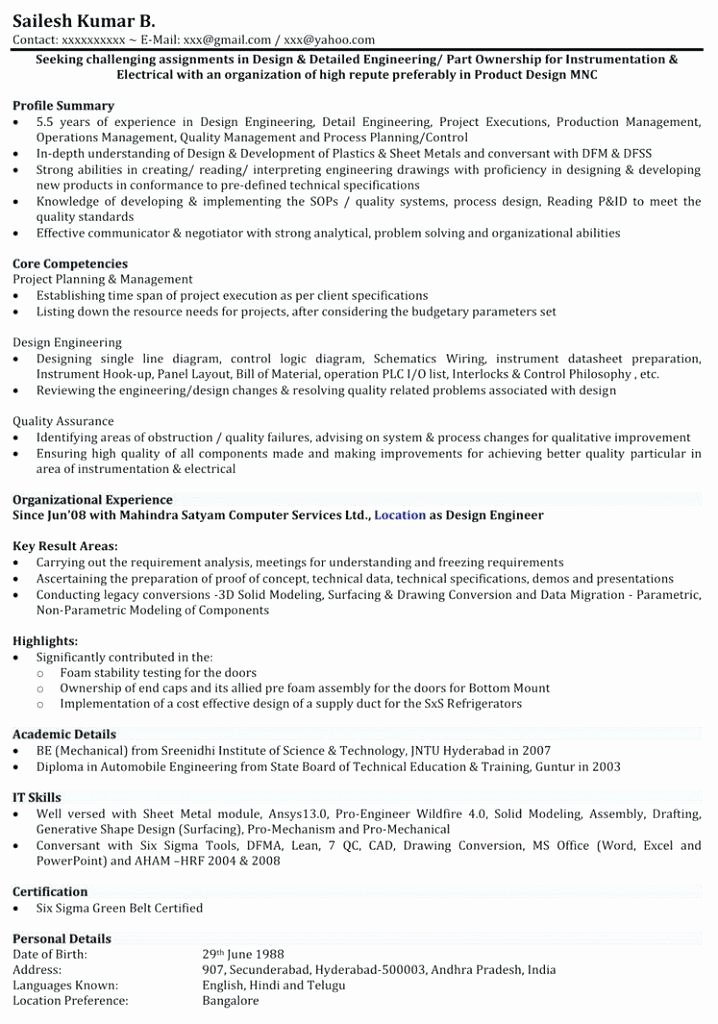 mechanical engineer resume examples