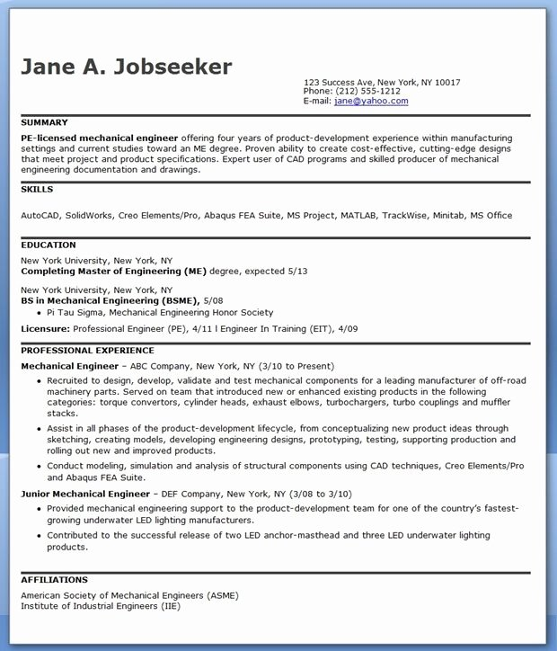 Mechanical Engineer Resume Sample New Mechanical Engineering Resume Sample Pdf Experienced