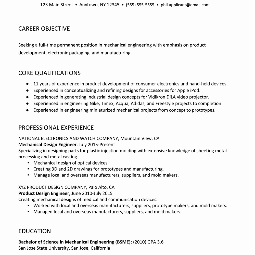 Mechanical Engineer Resume Sample New Sample Resume for A Mechanical Engineer