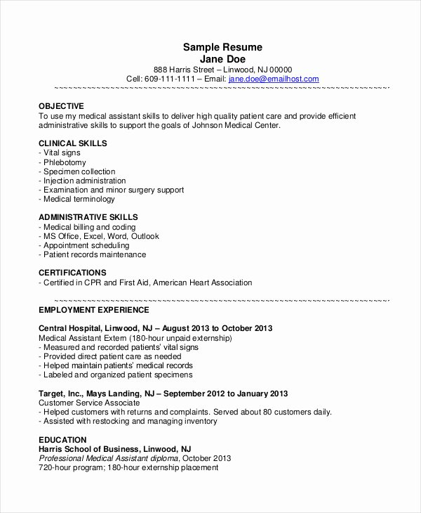 Medical assistant Resume Template Awesome 10 Medical assistant Resume Templates Pdf Doc