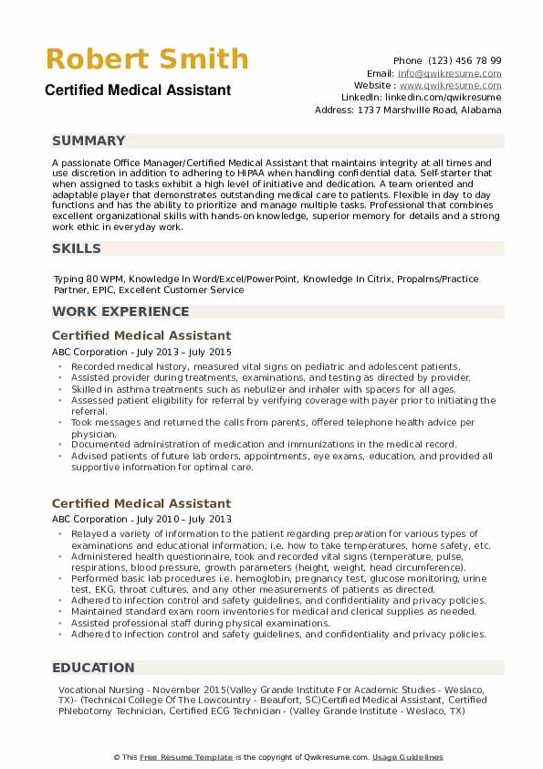 Medical assistant Resume Template Beautiful Certified Medical assistant Resume Samples