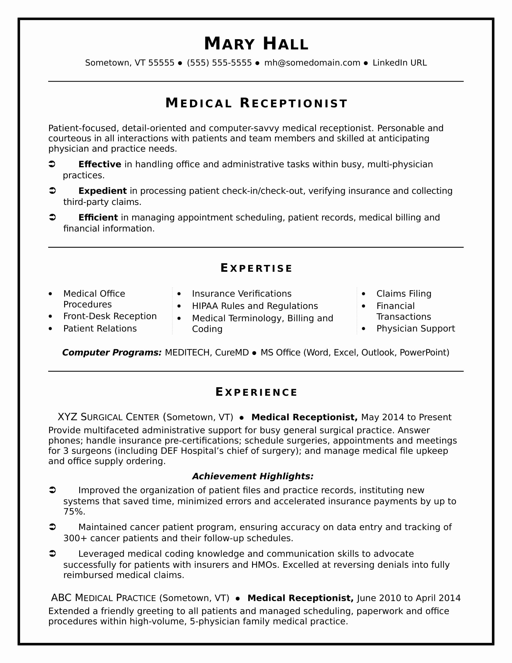 Medical assistant Resume Template Best Of Medical Receptionist Resume Sample
