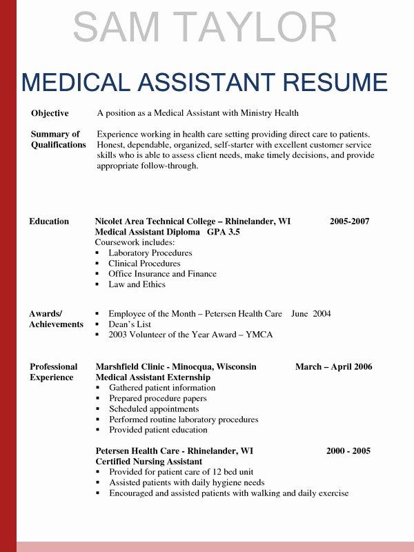 Medical assistant Resume Template Elegant How to Write A Medical assistant Resume In 2016