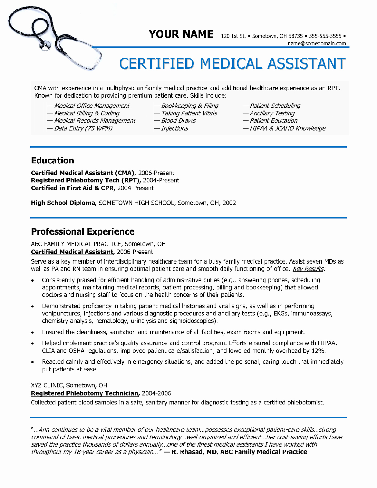 Medical assistant Resume Template Elegant Sample Of A Medical assistant Resume