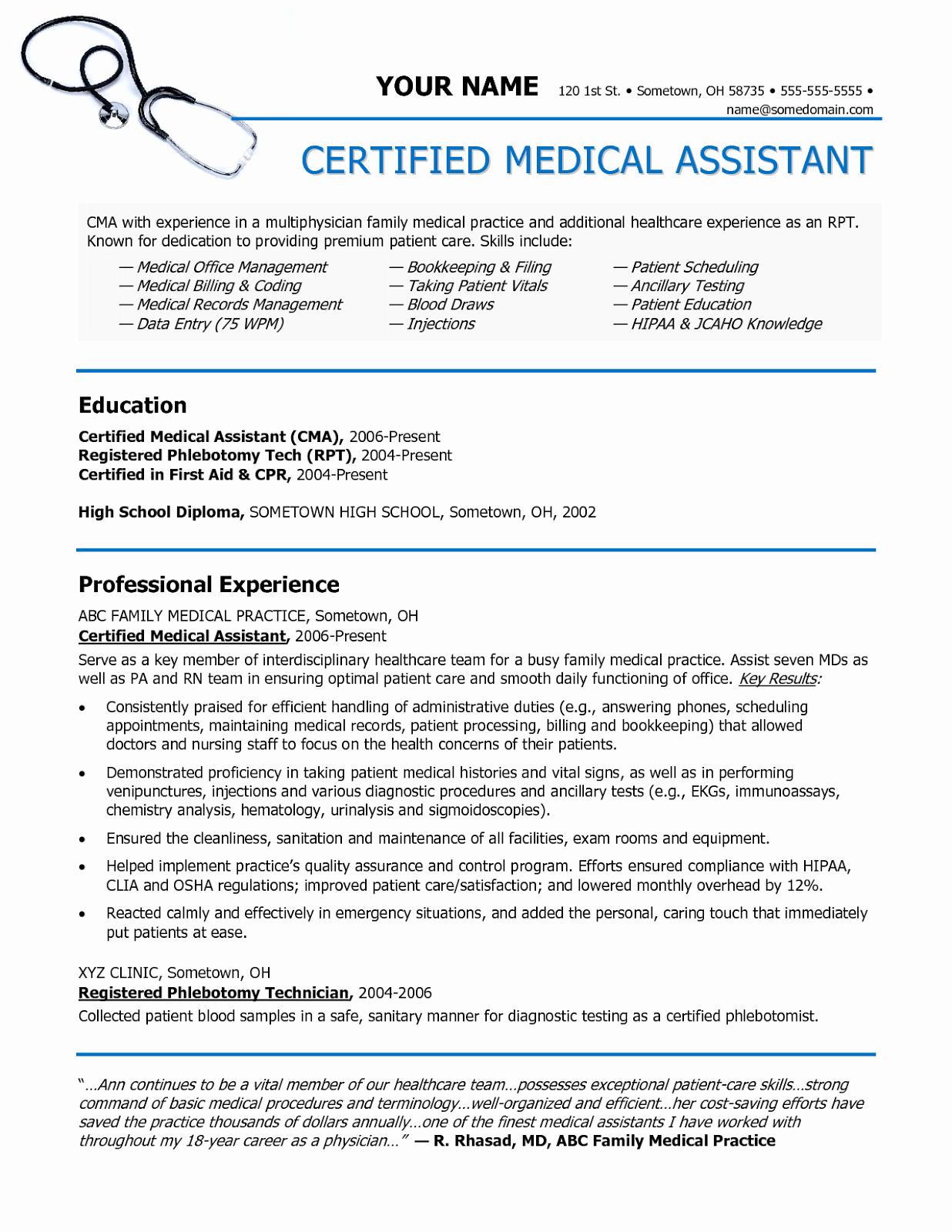Medical assistant Resume Template Elegant Sample Of A Medical assistant Resume