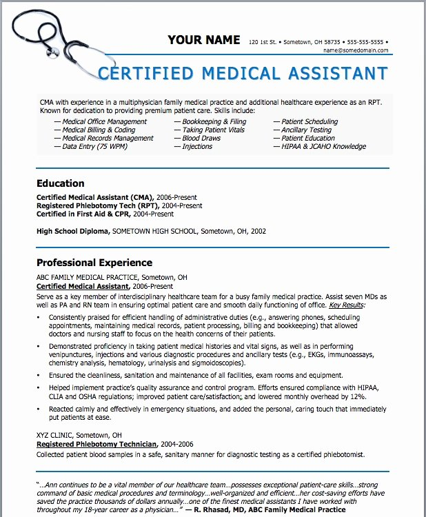 Medical assistant Resume Template Elegant Sample Resumes for Medical assistant