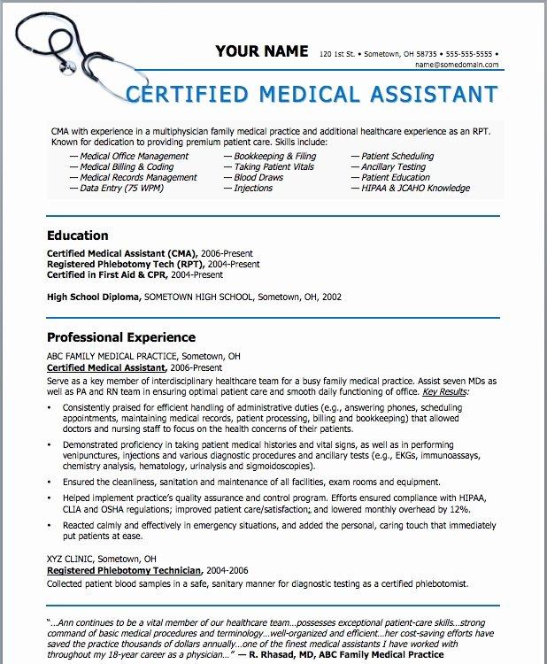 Medical assistant Resume Template Elegant Sample Resumes for Medical assistant