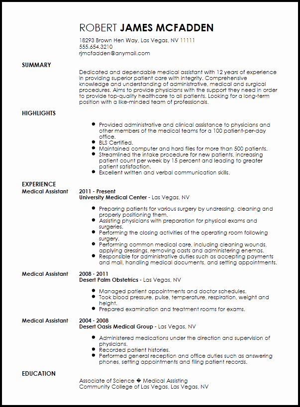 Medical assistant Resume Template Lovely Free Traditional Medical assistant Resume Template