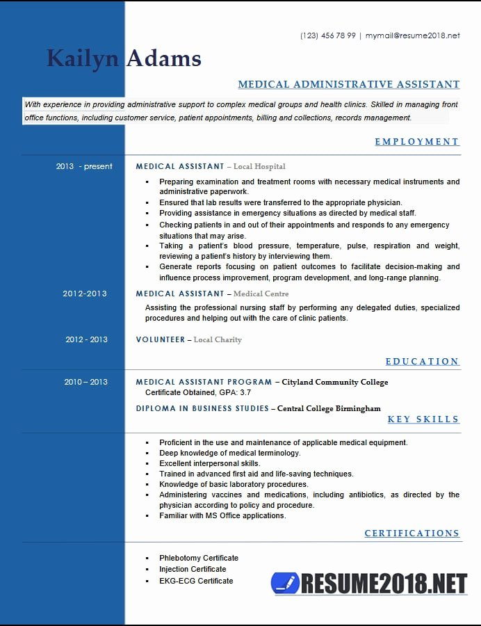 Medical assistant Resume Template Lovely Medical assistant Resume Examples 2018 Six Templates In