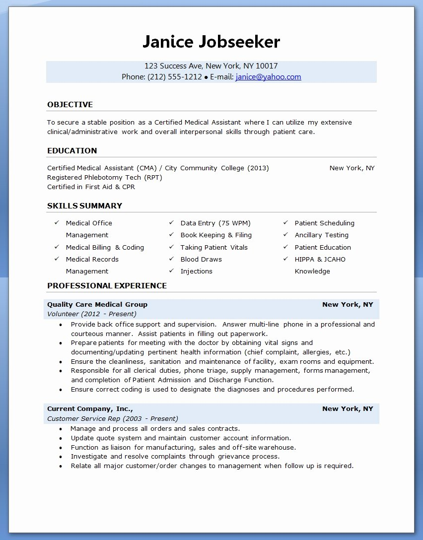 Medical assistant Resume Template Lovely Sample Of A Medical assistant Resume 2016