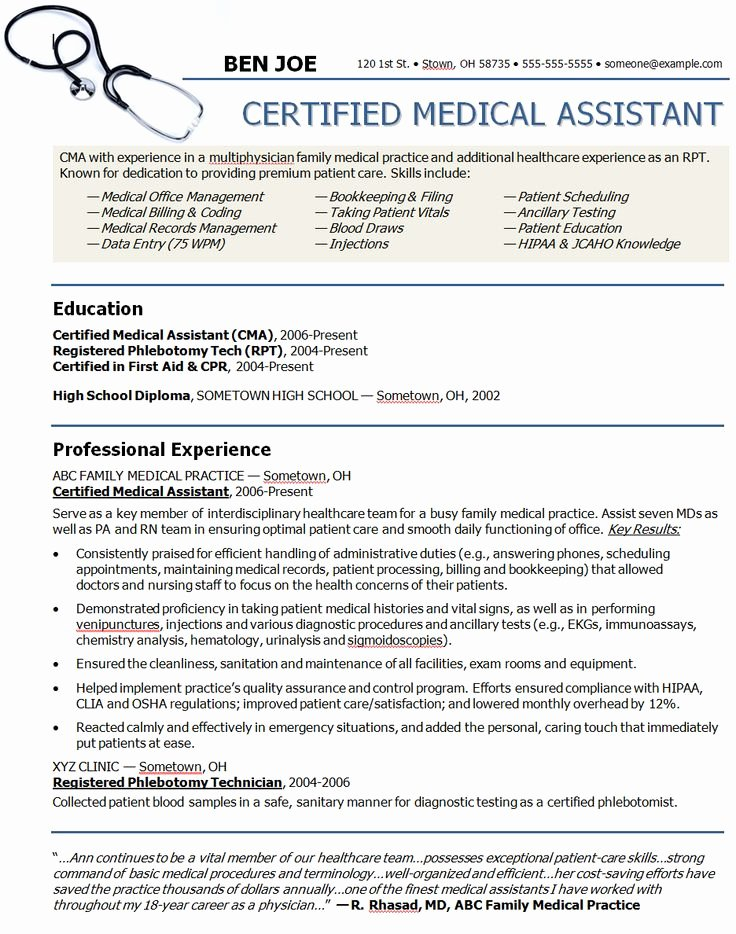 Medical assistant Resume Template Luxury Medical assistant Sample Resume