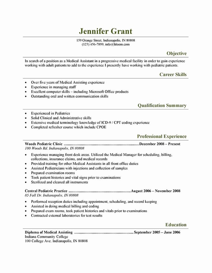 Medical assistant Resume Template New 16 Free Medical assistant Resume Templates