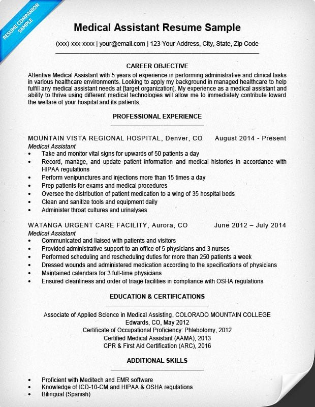 Medical assistant Resume Template New Medical assistant Resume Sample