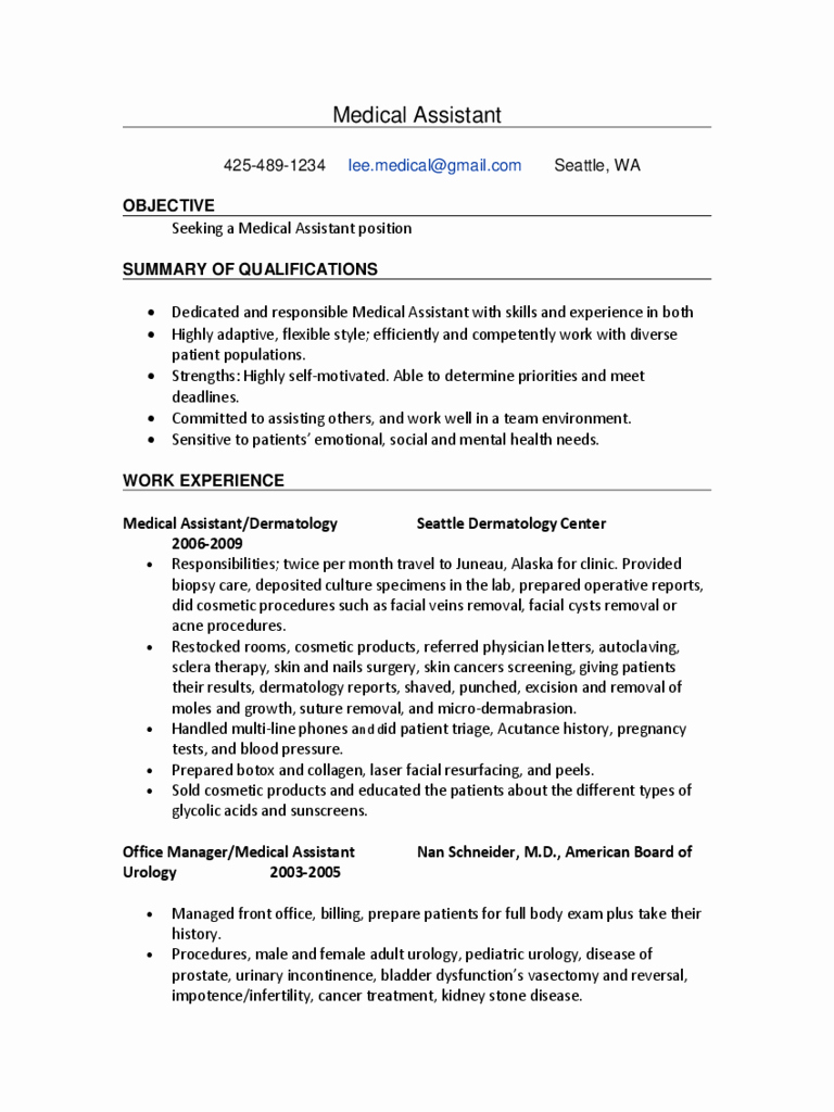Medical assistant Resume Template Unique 2019 Medical assistant Resume Template Fillable