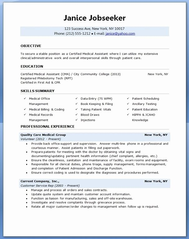 Medical assistant Resume Template Unique Medical assistant Resume Sample