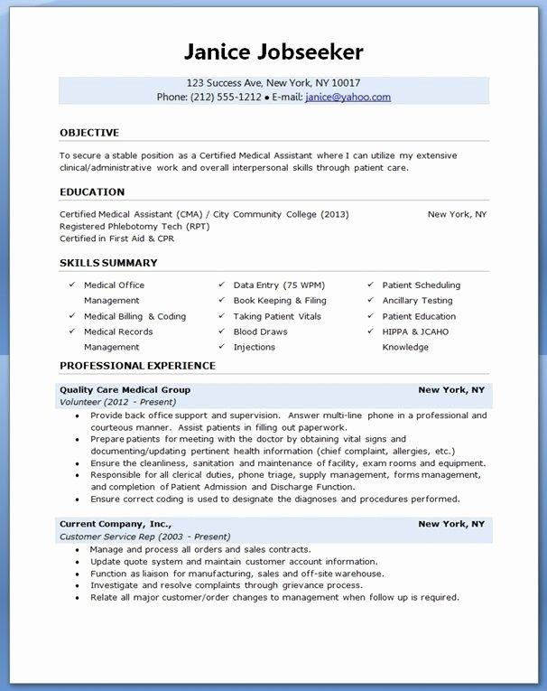 Medical assistant Resume Template Unique Medical assistant Resume Sample