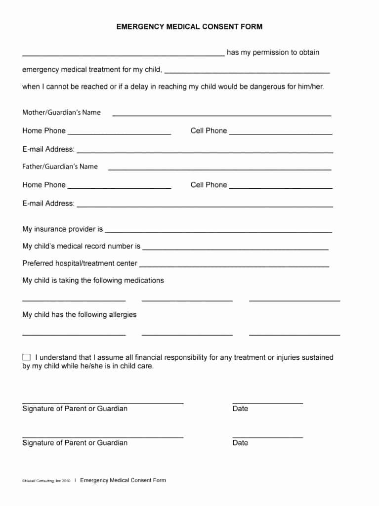 Medical Consent form Template Beautiful 45 Medical Consent forms Free Printable Templates