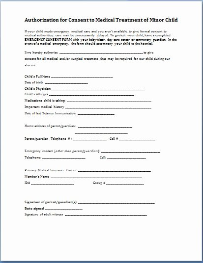 Medical Consent form Template Best Of Sample Child Consent forms Templates