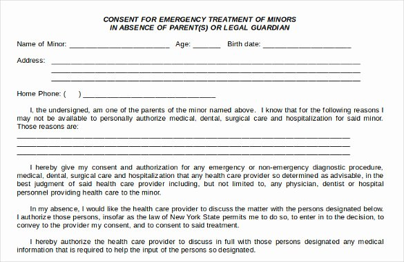 Medical Consent form Template Inspirational Sample Child Medical Consent form 5 Download Free