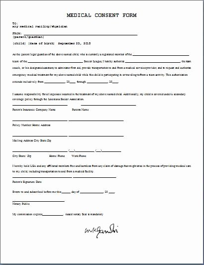 Medical Consent form Template Lovely Medical Consent form Daily Medical forms