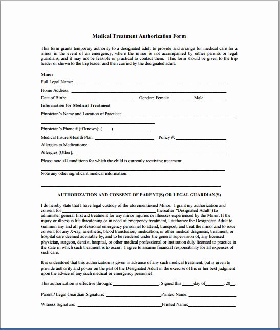 Medical Consent form Template Lovely Sample Child Consent forms Templates
