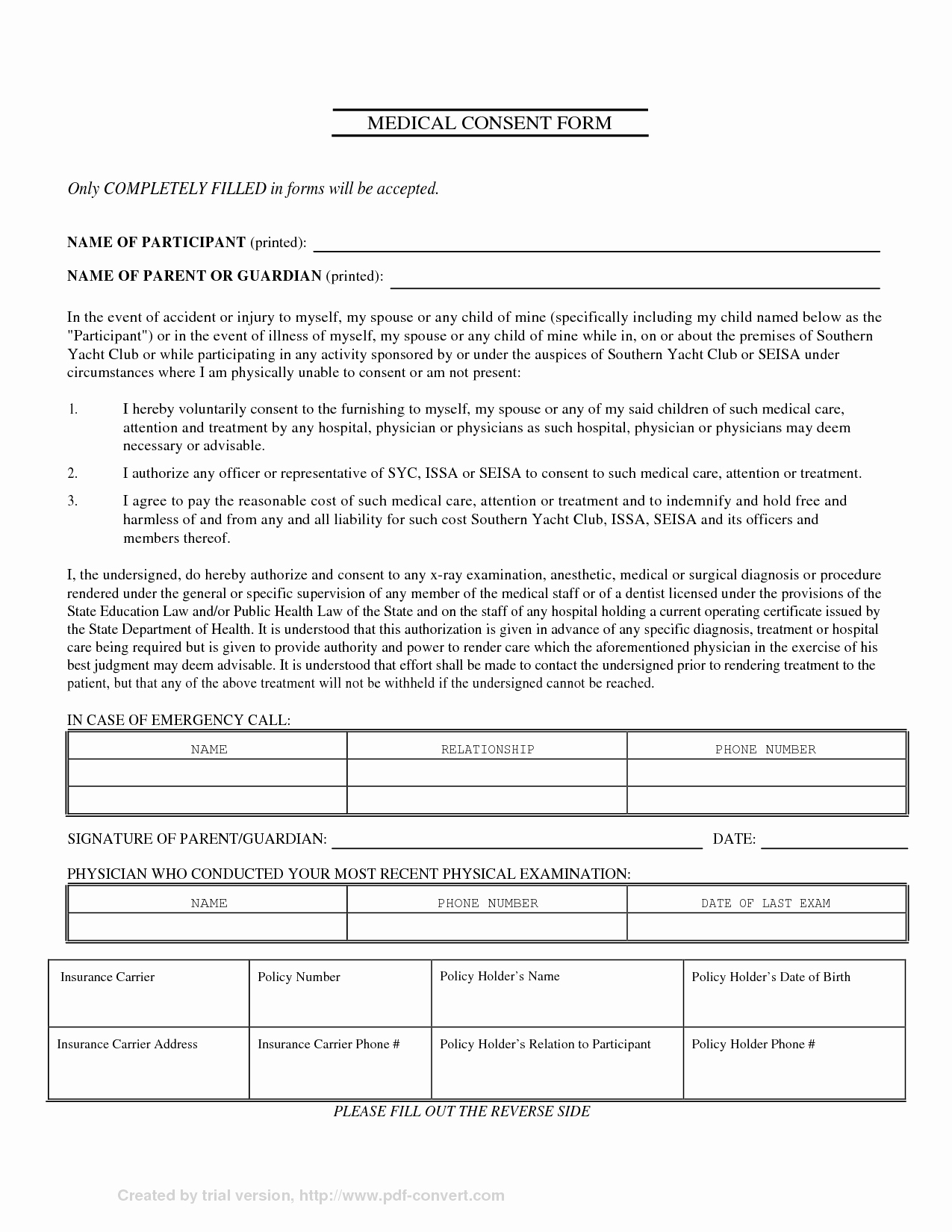 Medical Consent form Template Luxury Parental Medical Consent form Template Free Printable