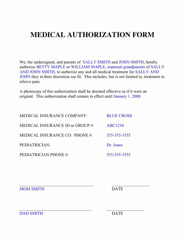 Medical Consent form Template New Medical Authorization form