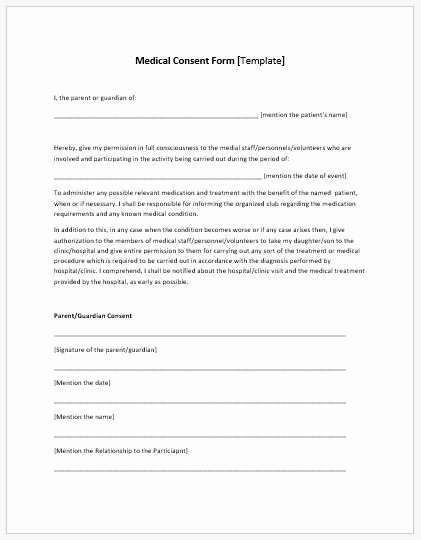 Medical Consent form Template New Medical Consent form Template Ms Word
