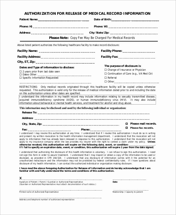 Medical Record Release form Awesome Sample Medical Release form 9 Examples In Pdf