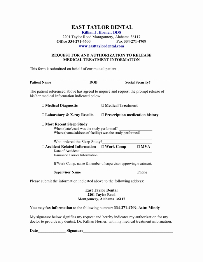 Medical Record Release form Beautiful Medical Clearance form for Dental Treatment – Templates