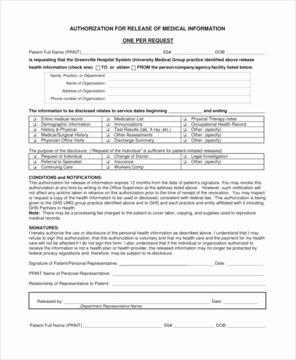 Medical Record Release form Beautiful Sample Medical Release form 9 Examples In Pdf