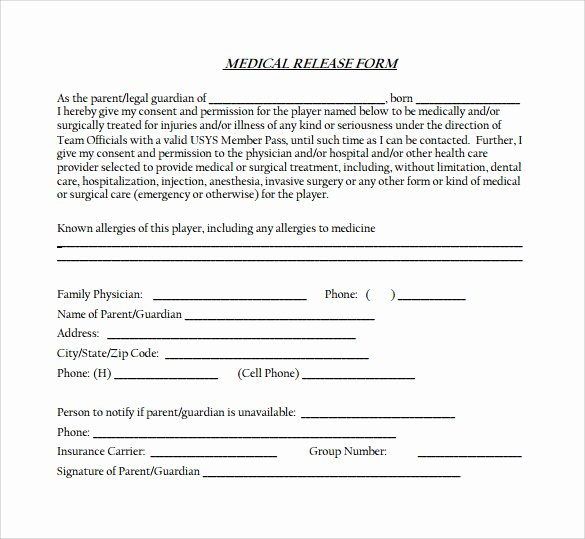 Medical Record Release form Best Of Medical Release form 11 Free Samples Examples formats
