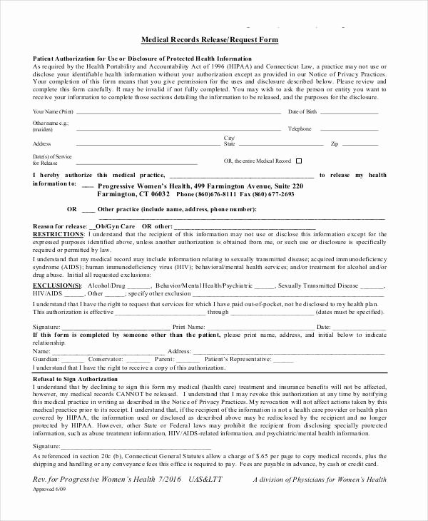 Medical Record Release form Fresh 25 Medical Release forms