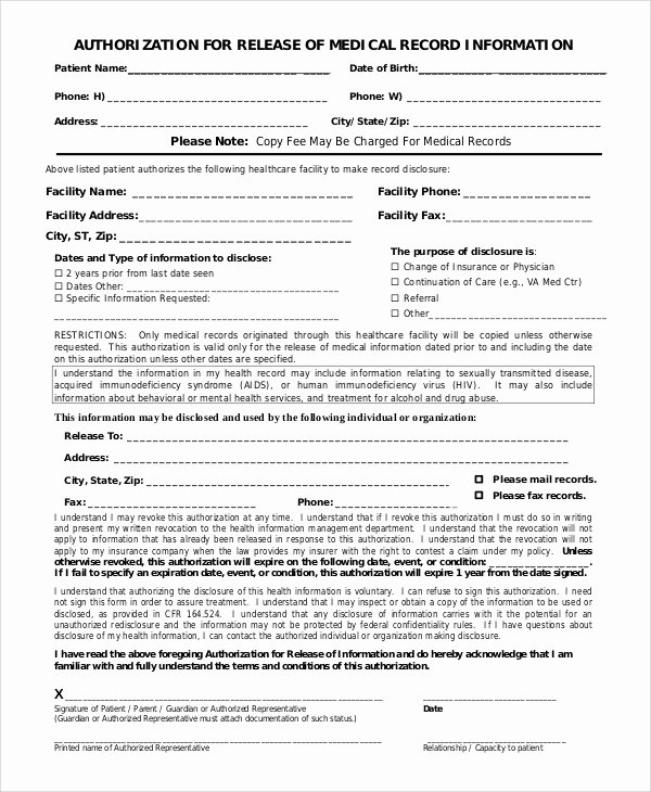 Medical Record Release form Lovely Sample Medical Records Release form 9 Examples In Pdf Word