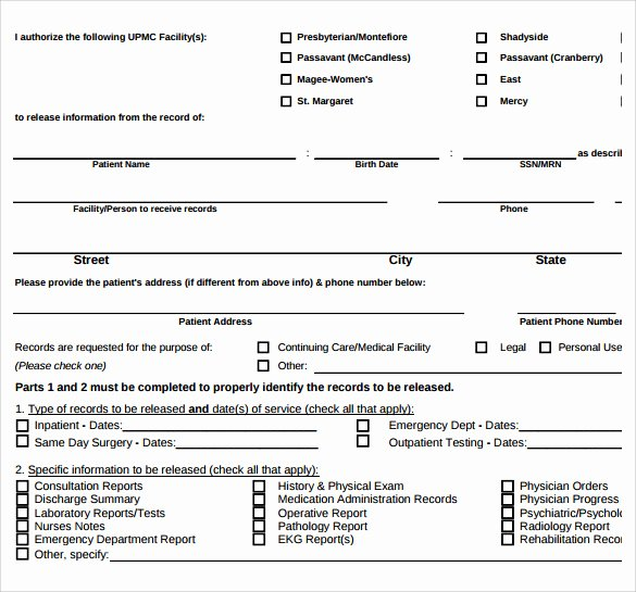 Medical Record Release form Luxury Sample Medical Records Release form 9 Download Free