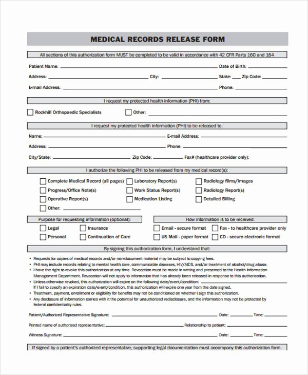 Medical Record Release form New 24 Medical Release form Templates