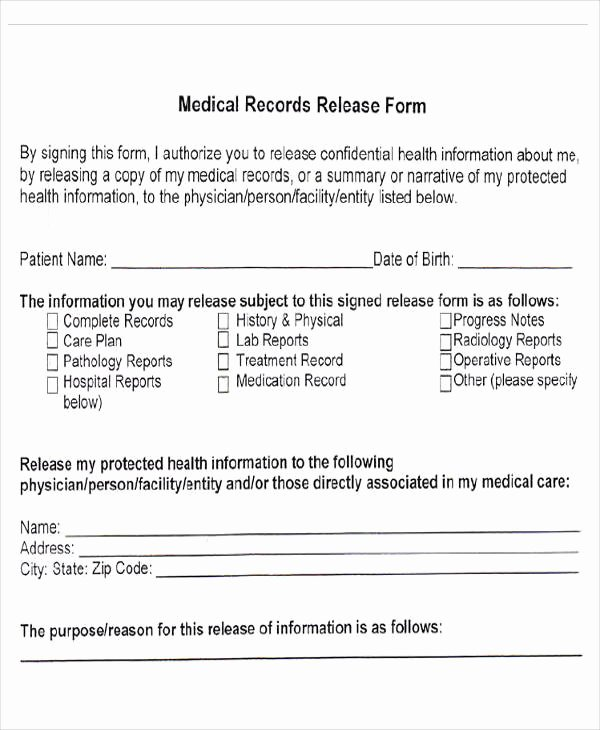 Medical Record Release form New Medical forms In Pdf