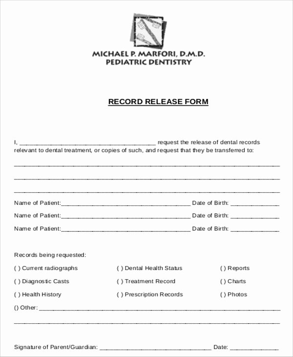 Medical Record Release form New Sample Dental Records Release form 8 Examples In Word Pdf