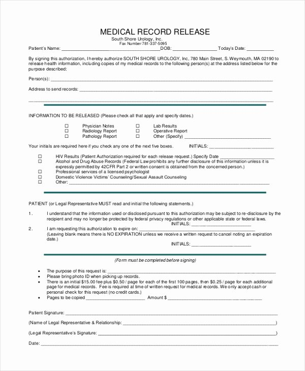Medical Record Release form New Sample Medical Records Release form 10 Free Documents