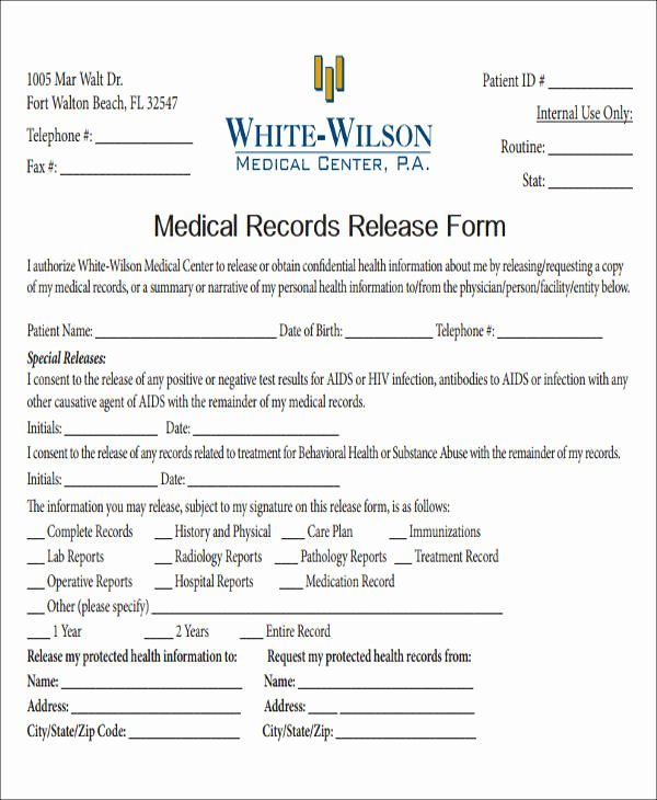 Medical Record Release form Unique Release Medical Information form Sample 9 Examples