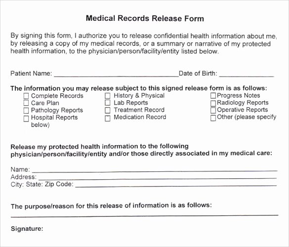 Medical Release form Template Awesome Medical Records Release form 10 Free Samples Examples