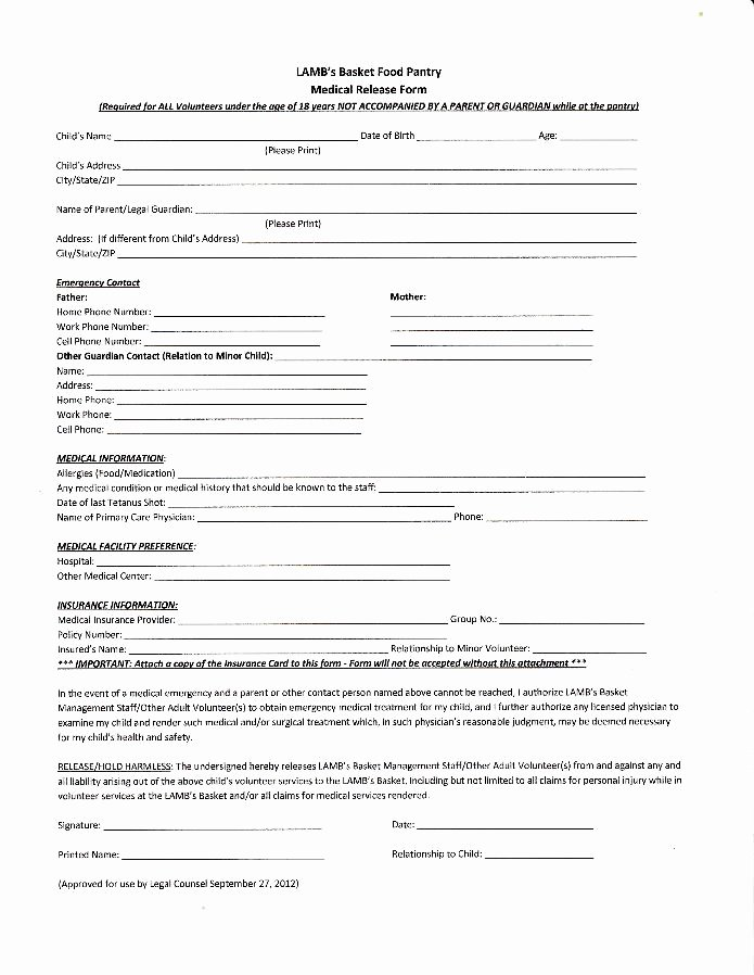 Medical Release form Template Best Of Medical Release form for Minors – Templates Free Printable