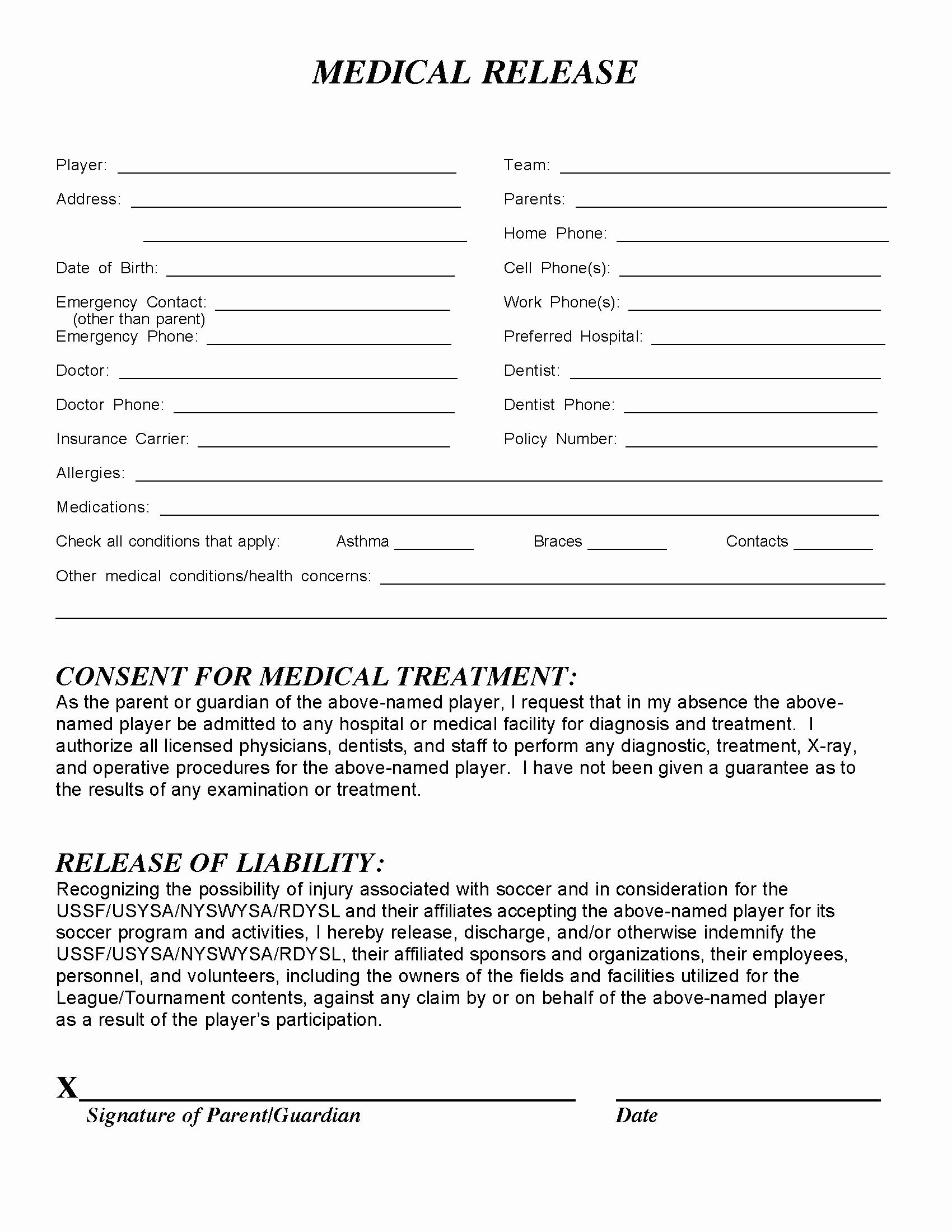 Medical Release form Template Elegant Medical Release form – Templates Free Printable