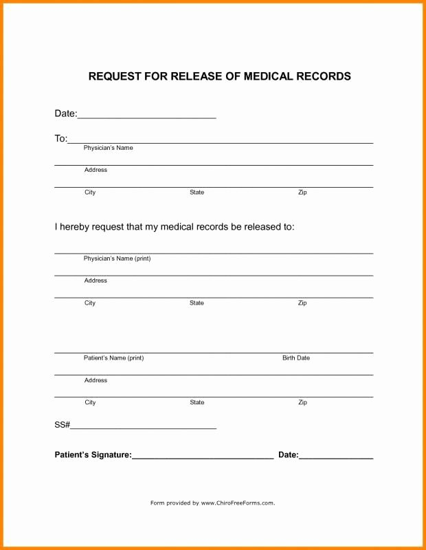 Medical Release form Template Fresh Blank Medical Records Release form Template