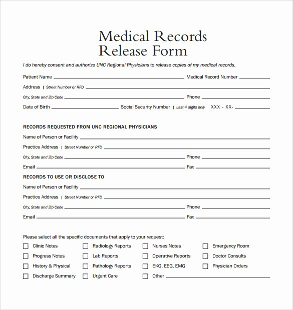Medical Release form Template Fresh Medical Record Release form