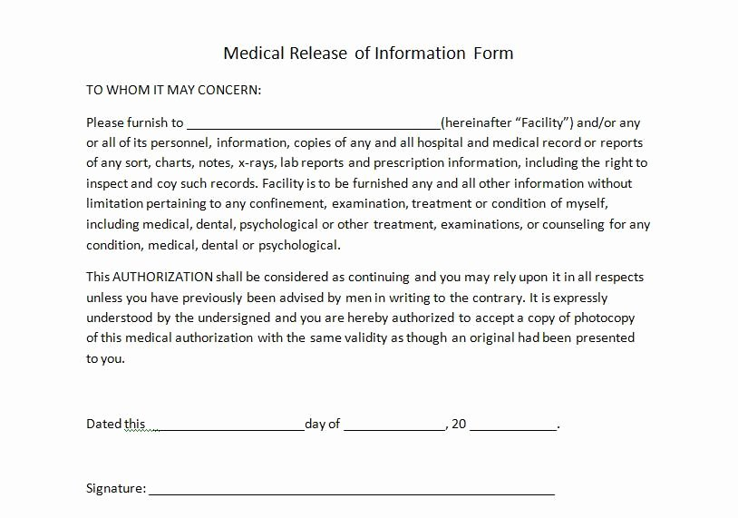Medical Release form Template Fresh Medical Release Of Information form for Personal Trainers