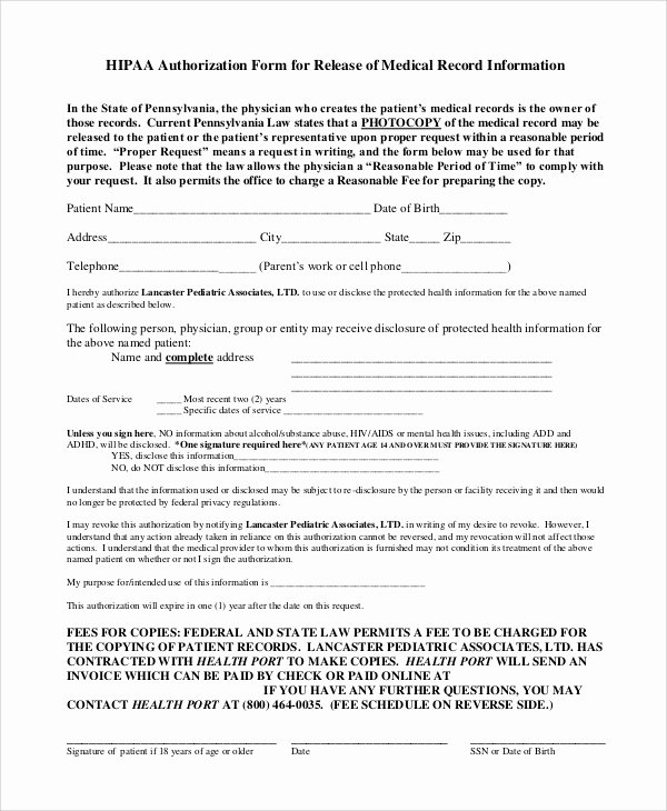 Medical Release form Template Fresh Sample Hipaa Release form 8 Examples In Pdf Word