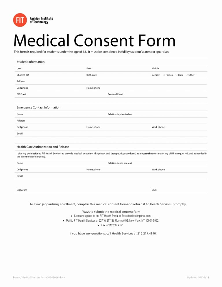 Medical Release form Template Inspirational 45 Medical Consent forms Free Printable Templates
