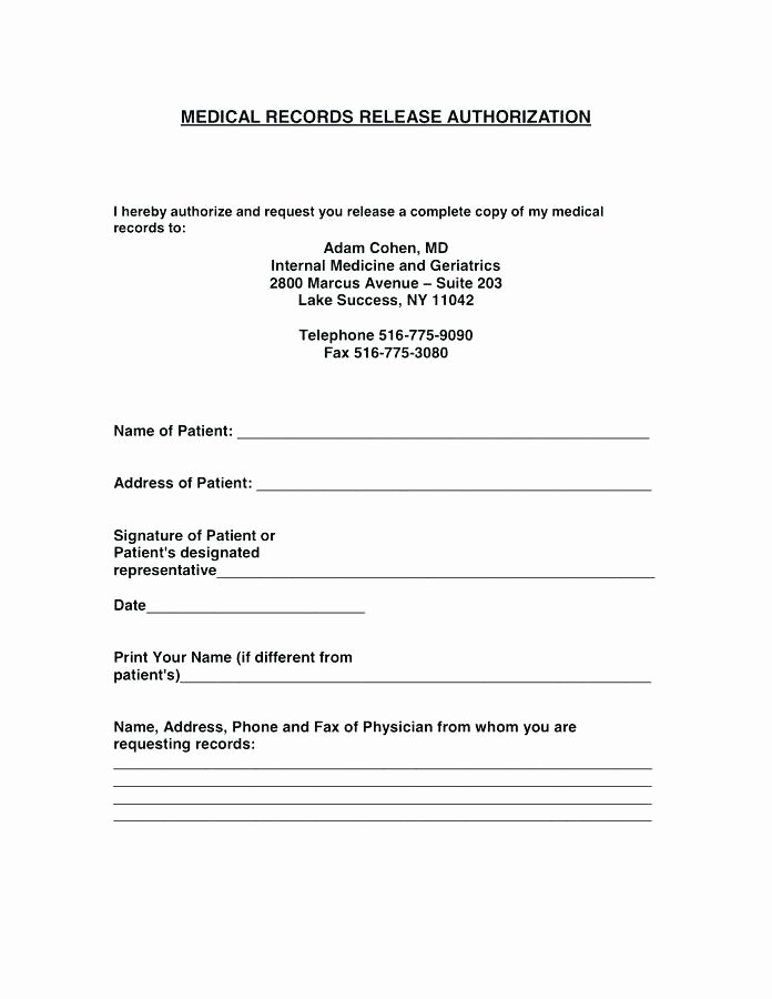 Medical Release form Template Lovely 12 13 Release Of Medical Records Letter