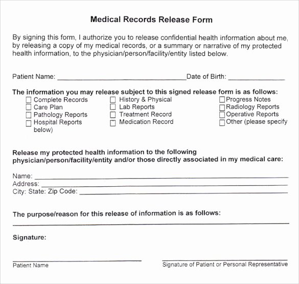 Medical Release form Template Luxury Sample Medical Records Release form 9 Download Free